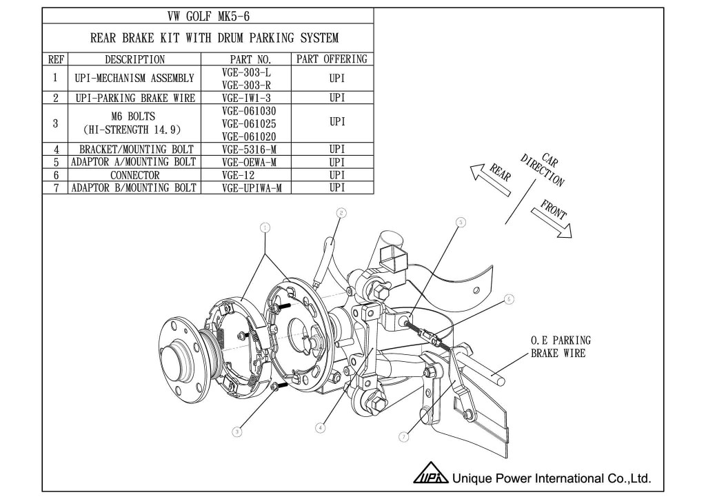 Parking Mechmaism for upgrade to racing caliper - VW Golf MK5-6