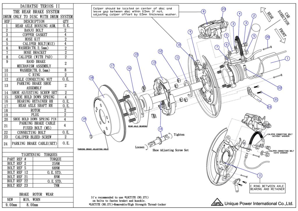 Rear Drum to Disc Conversion Kit - Daihatsu Terios II